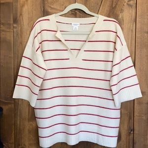 Club Monaco Cashmere 3/4 sleeve striped sweater!